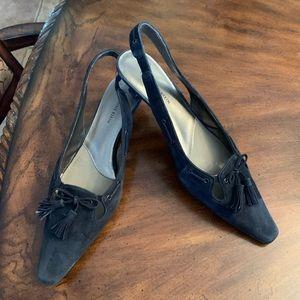 Anne Klein blue suede shoes.
